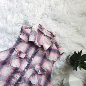 ANTHROPOLOGIE MARISOL • sleeveless plaid button up